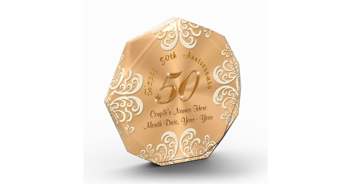 Personalised 50th Wedding Anniversary Gifts: Golden Personalized Happy 50th Anniversary Gifts Award