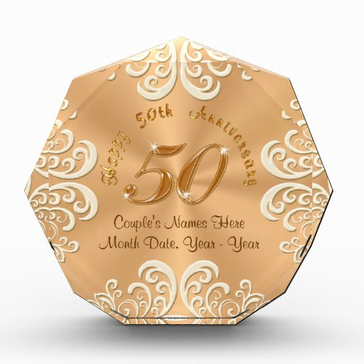 Unique Golden Wedding Anniversary Gifts: Golden Personalized Happy 50th Anniversary Gifts Award