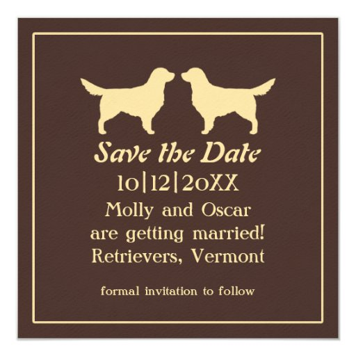 Golden Save The Date For Wedding Invitation Wedding: Golden Retrievers Wedding Save The Date Invitation