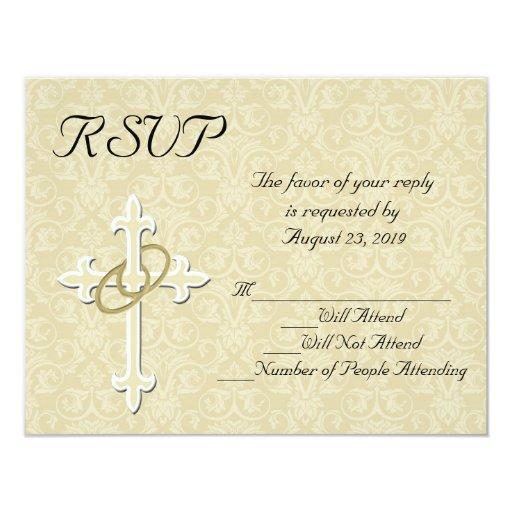 "Christian Wording For Wedding Invitations: Golden Rings Christian Wedding RSVP Card 4.25"" X 5.5"" Invitation Card"