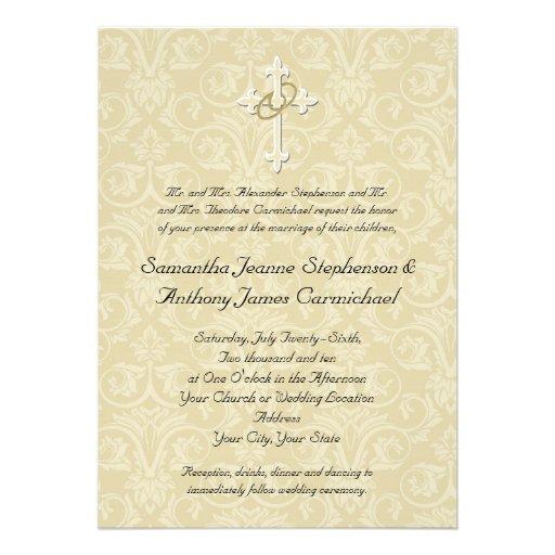 Christian Wording For Wedding Invitations: Golden Rings Cross, Christian Wedding Invitations