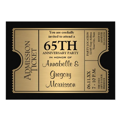 Golden Ticket Style 65th Wedding Anniversary Party 5x7