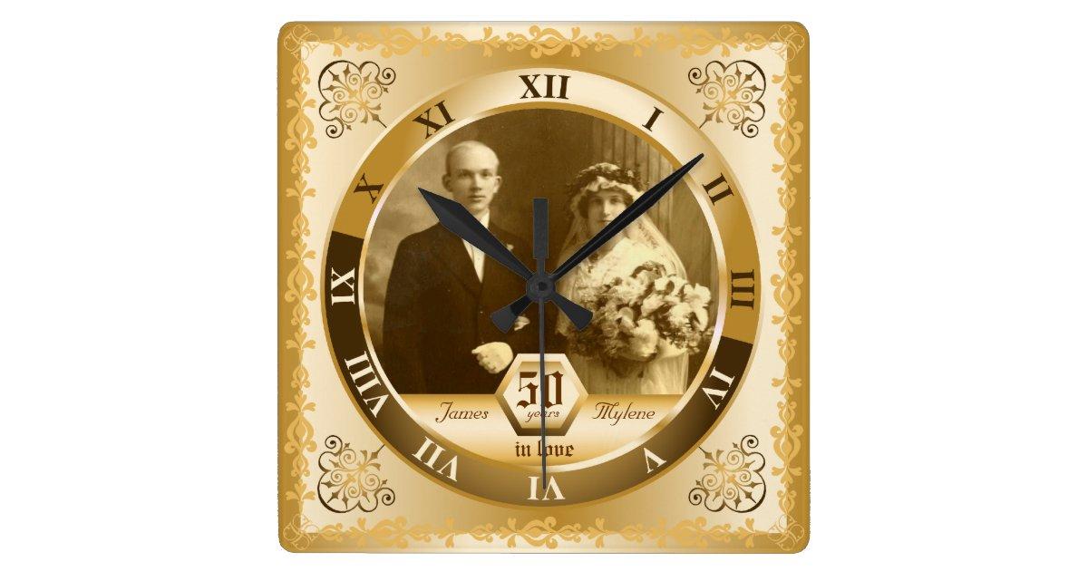 Clock Wedding Gift: Golden Wedding Anniversary Customizable Photo Gift Square
