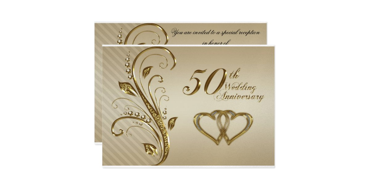 Golden Wedding Anniversary Invites: Golden Wedding Anniversary Invitation Card