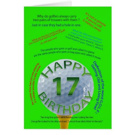 Golf Jokes Birthday Card For 17 Year Old