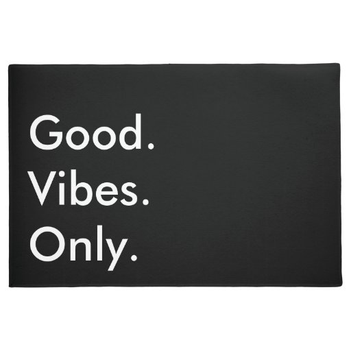 Good Vibes Only Customizable Black And White Doormat