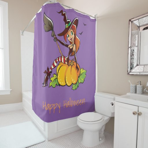 Good Witch Happy Halloween Shower Curtain
