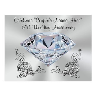 Gorgeous Personalized 60th Anniversary Invitations Postcard