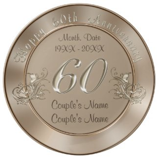 Gorgeous PERSONALIZED Traditional 60th Anniversary Porcelain Plate