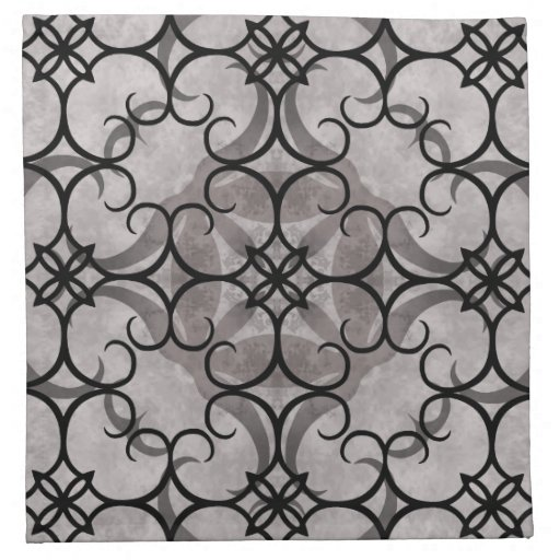 Gorgeous victorian gothic pattern gray and black napkin ...