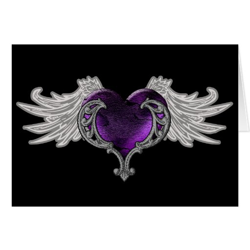 Goth Purple Heart with Angel Wings Greeting Card | Zazzle