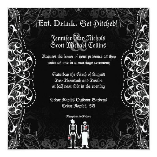 Gothic Bride & Groom Skeleton Wedding Invitations | Zazzle