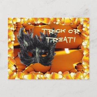 Gothic Mask Trick Or Treat Merchandise postcard