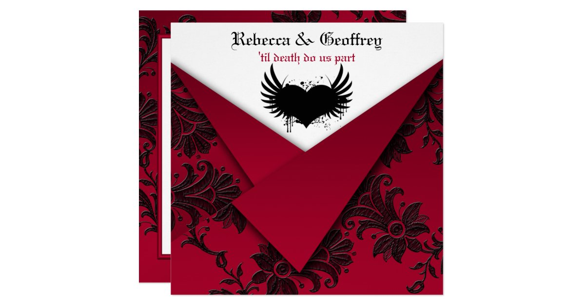 Wedding Invitations Red And Black: Gothic Red And Black Wedding Invitation