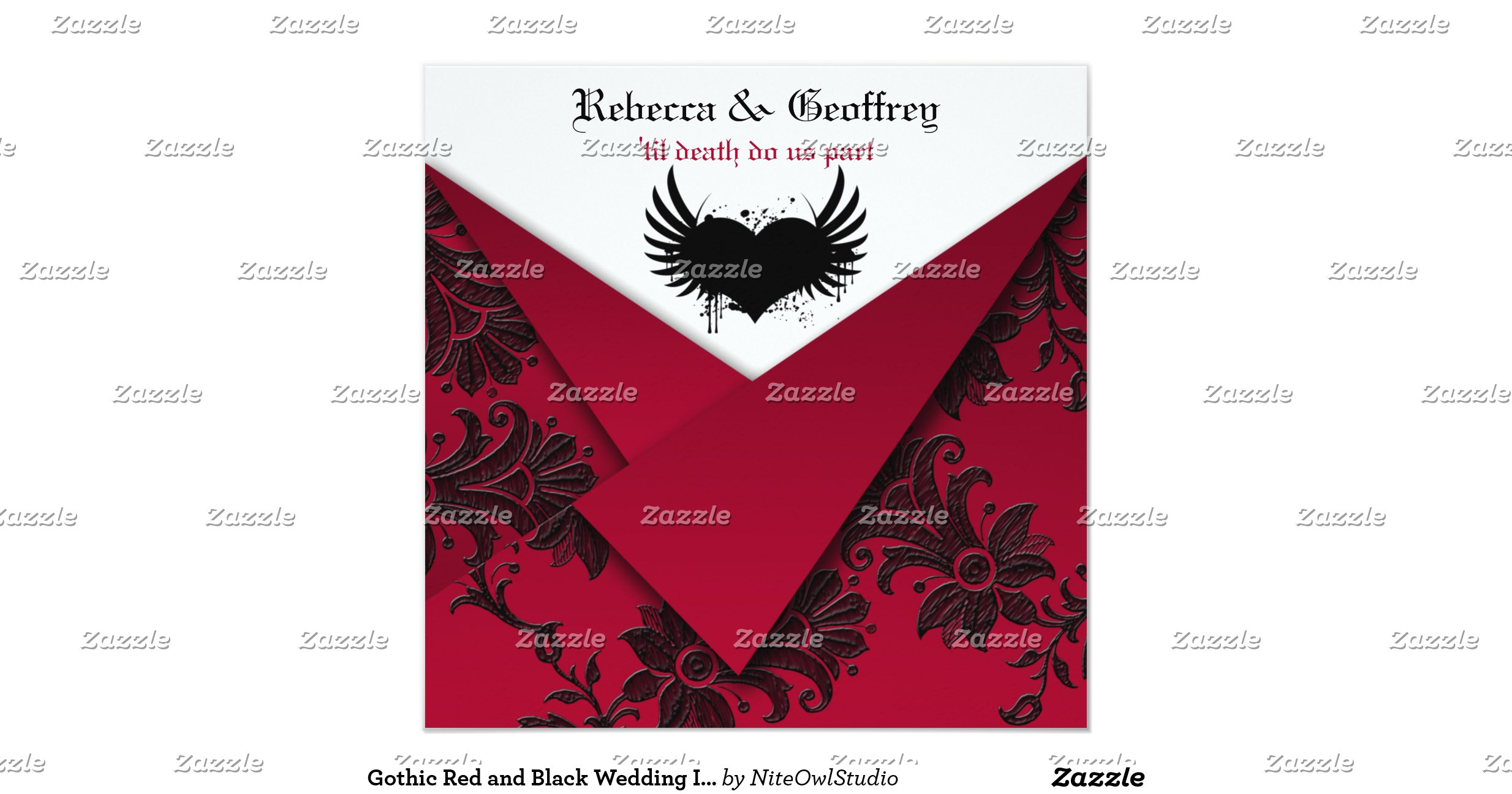 Red And Black Wedding Invitations Templates: Gothic_red_and_black_wedding_invitation