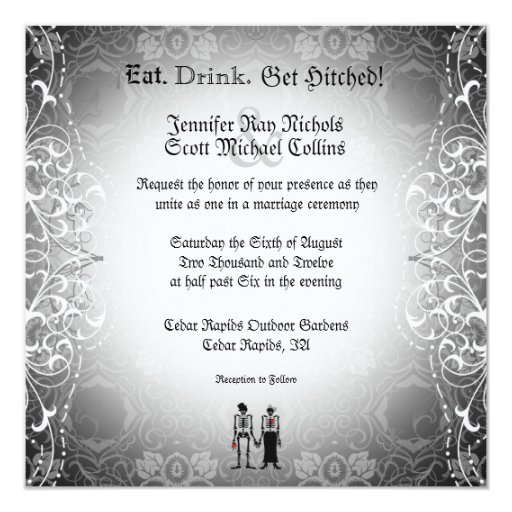 Gothic Skeleton Bride & Groom Wedding Invitations | Zazzle