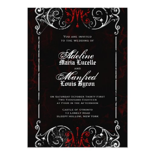 Wedding Invitations Red White And Black: Gothic Victorian Spooky Red, Black & White Wedding 5x7