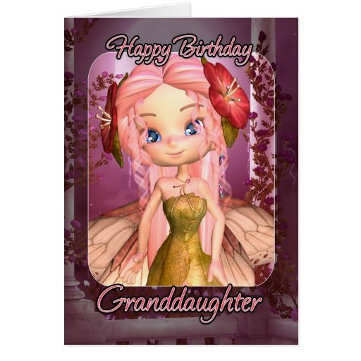 Granddaughter Birthday Card Cute Pink Fairy On PopScreen