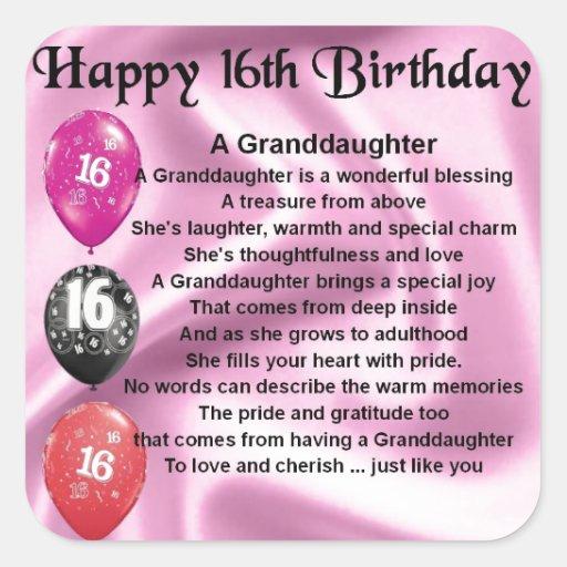 Granddaughter Poem 16th Birthday Square Sticker