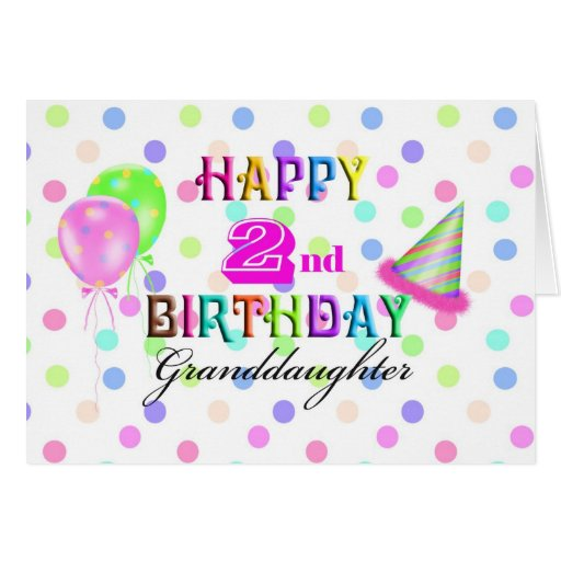Granddaughter Polkadot 2nd Birthday Greeting Card