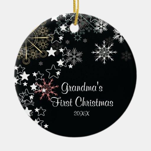 Grandma's First Christmas Snowflake Ornament   Zazzle