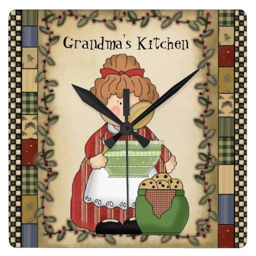 Grandmothers Kitchen: Grandma's Kitchen Cartoon Wall Clock