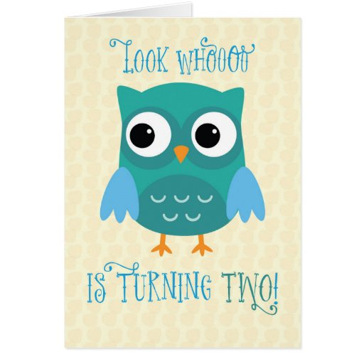 Grandson 2nd Birthday, Owl, Blue, Green Card