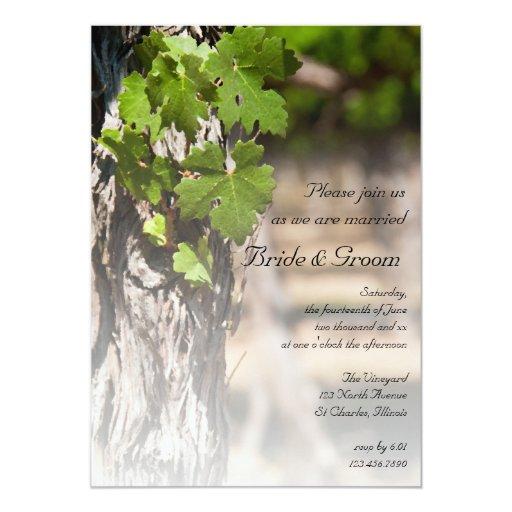 Winery Wedding Invitations: Grape Leaves Vineyard Winery Wedding Invitation