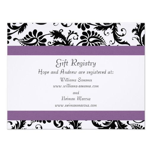 Boardmans Gift Registry Weddings: Grape Trim Black Damask Gift Registry Wedding 4.25x5.5