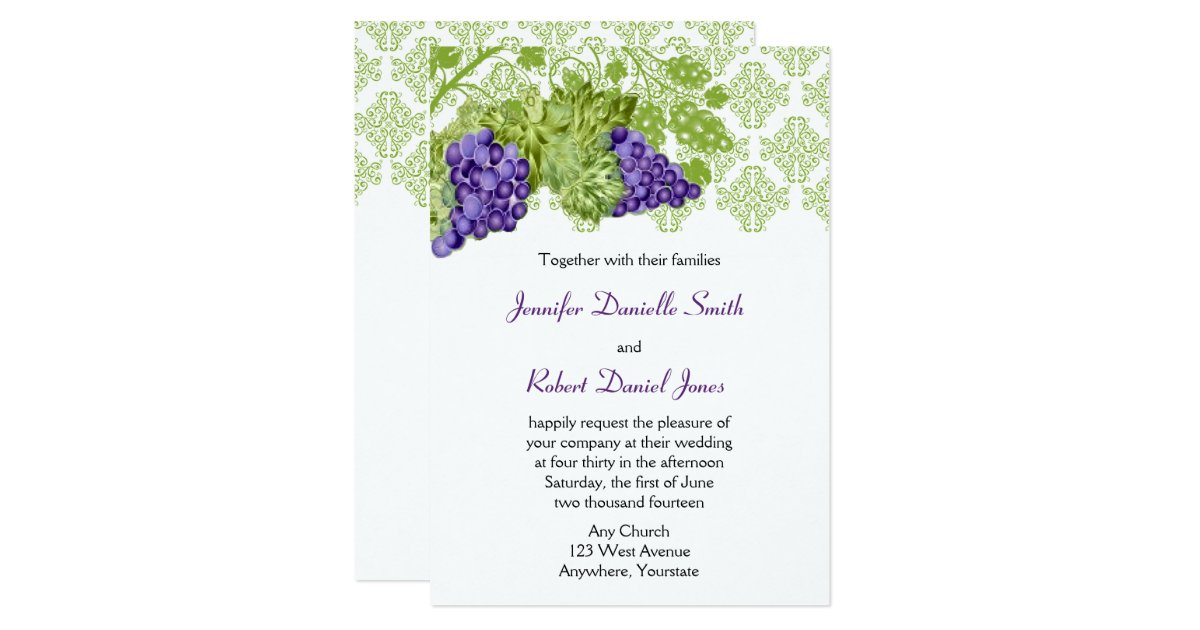 Garden Wedding Invitations: Grapevine Garden Wedding Invitation