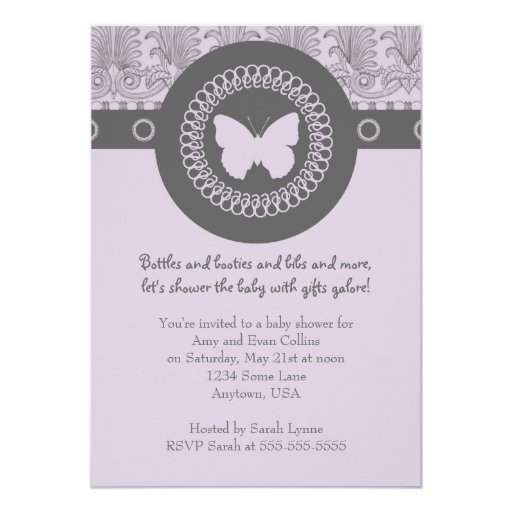 """Gray And Purple Butterfly Baby Shower Invitation 5"""" X 7"""