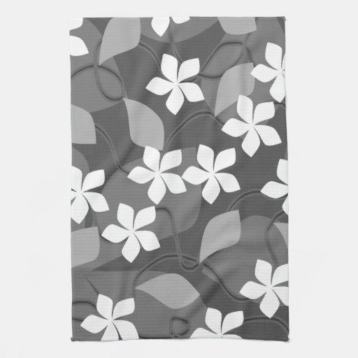 gray and white flowers floral pattern hand towel zazzle. Black Bedroom Furniture Sets. Home Design Ideas