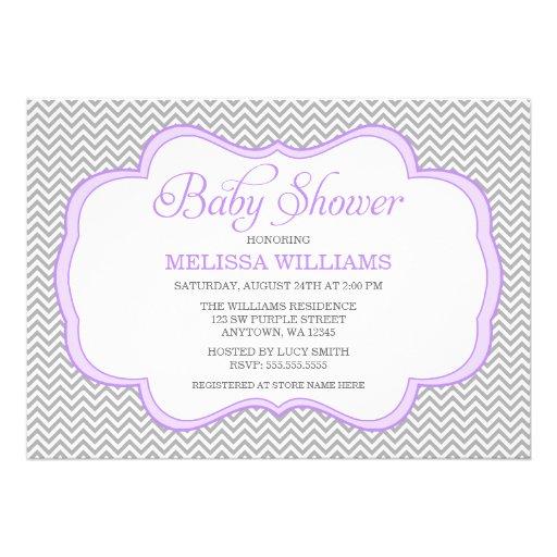 "Gray Chevron Purple Frame Baby Shower Invitations 5"" X 7"