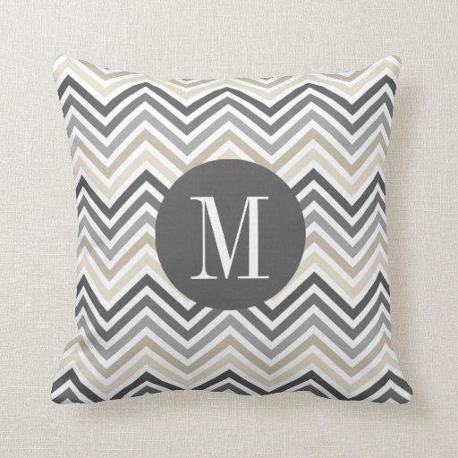 Linen Monogram Throw Pillow: Gray & Linen Beige Chevron Pattern With Monogram Throw