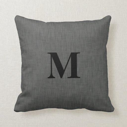 Linen Monogram Throw Pillow: Gray Linen Texture Monogram Initial Throw Pillow