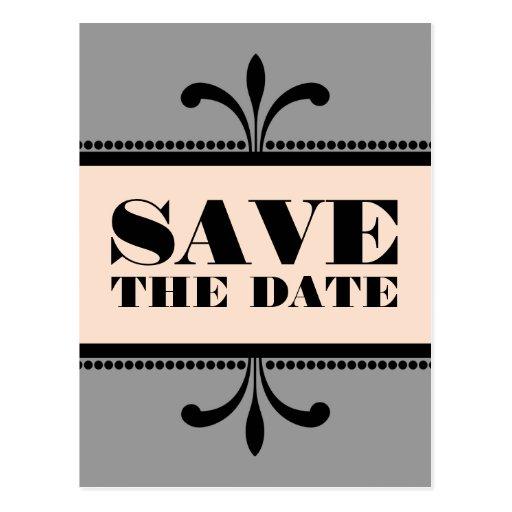 gray peach fancy art deco save the date postcard zazzle. Black Bedroom Furniture Sets. Home Design Ideas