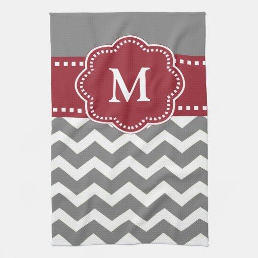Black And White Chevron Hand Towels: Gray Red Chevron Monogram Towel