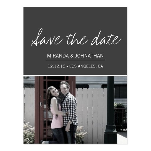 Gray Script Photo Save The Date Post Cards