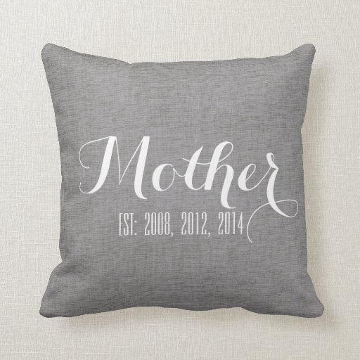 Linen Monogram Throw Pillow: Gray White Linen Personalized Mother's Day Gift Throw