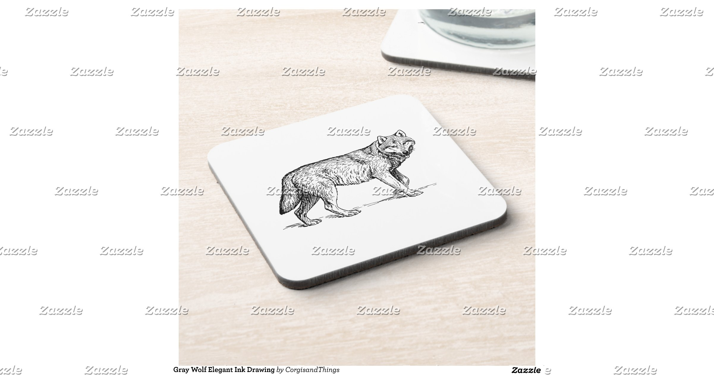 Gray Wolf Elegant Ink Drawing Coasters | Zazzle