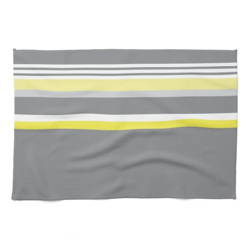 gray (yellow stripe) kitchen towels | zazzle