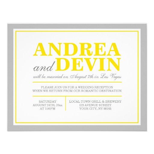 "Wedding Reception Only Invitations: Gray & Yellow Wedding Reception ONLY Invitations 4.25"" X 5"