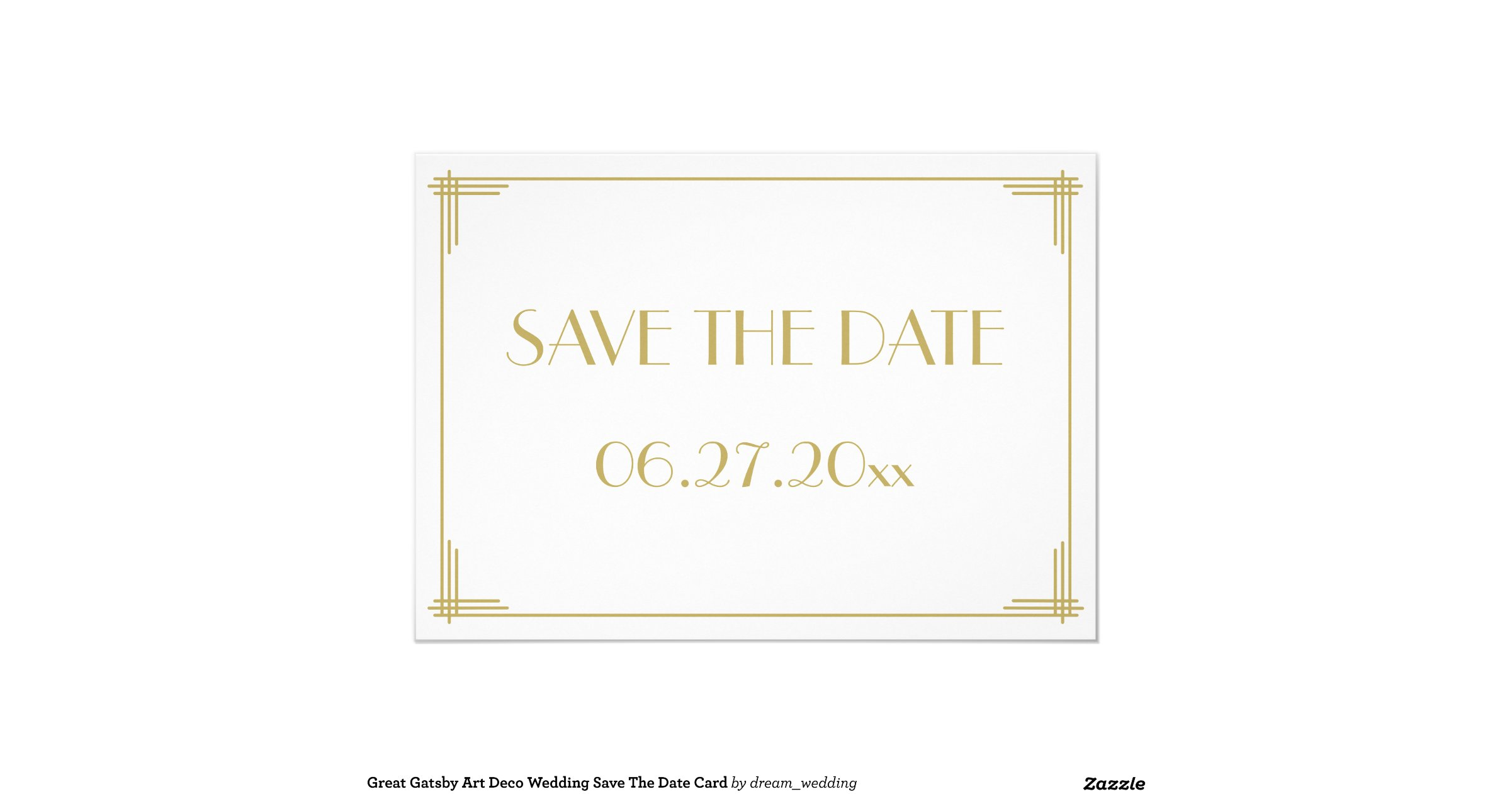 great gatsby art deco wedding save the date card zazzle. Black Bedroom Furniture Sets. Home Design Ideas