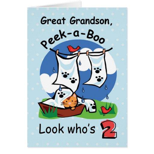 Great Grandson, 2nd Birthday, Peek-a-Boo Kitten Card