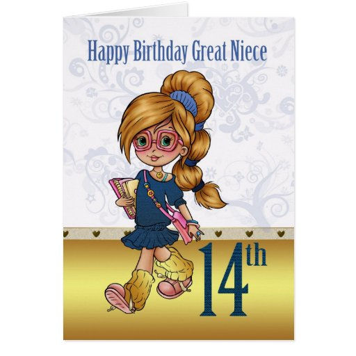 Great Niece 14th Birthday With Trendy Girl Card