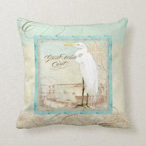 Beach Home Decor Pillows: Great White Egret Coastal Beach Home Decor Pillow