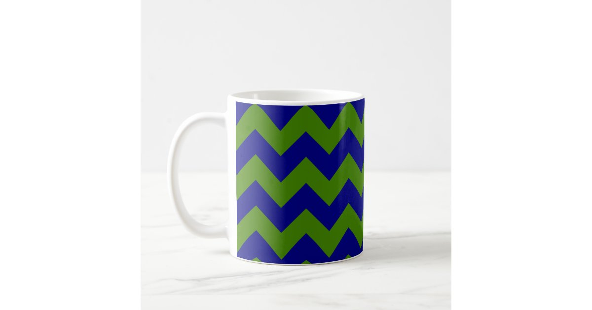 Green and Navy Blue Zigzag Coffee Mug   Zazzle