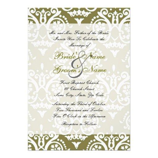 "green and white english wedding invitation 5"" x 7"