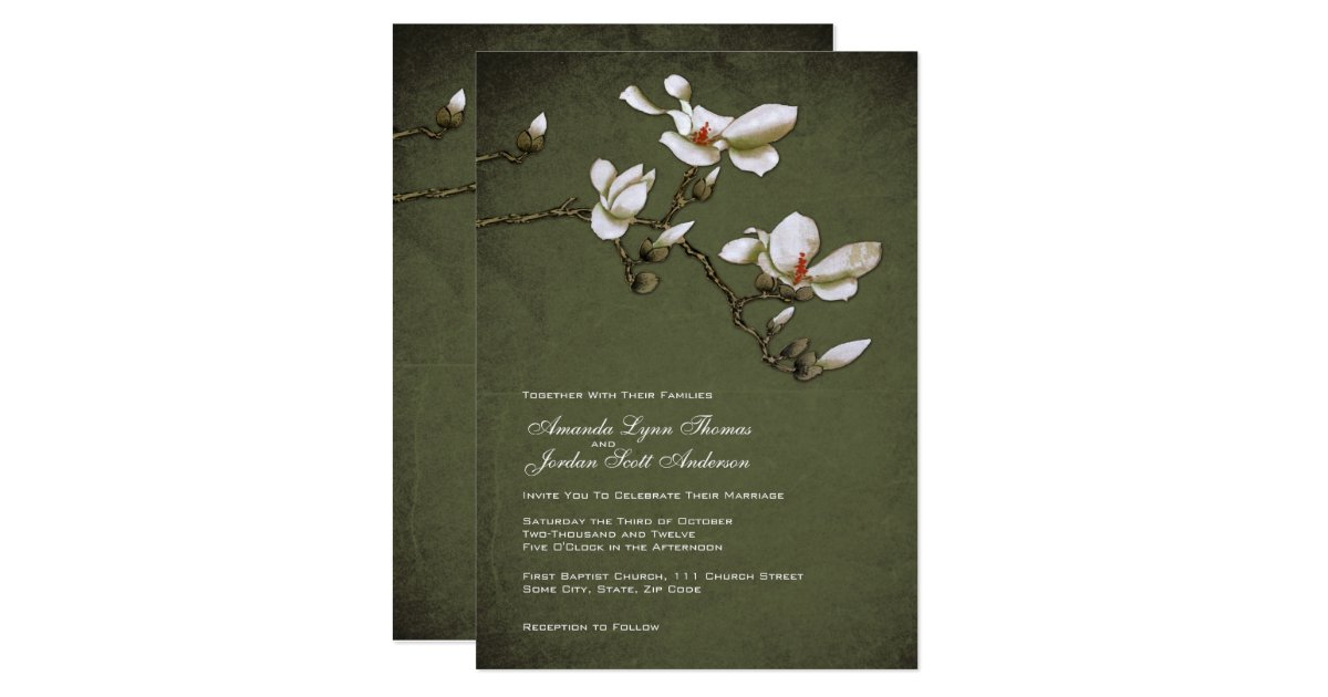 White And Green Wedding Invitations: Green And White Magnolia Wedding Invitation