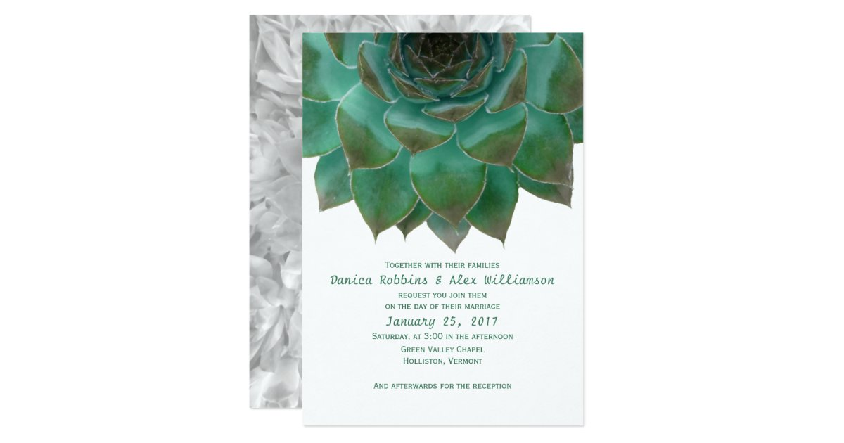 White And Green Wedding Invitations: Green And White Succulents Wedding Invitations